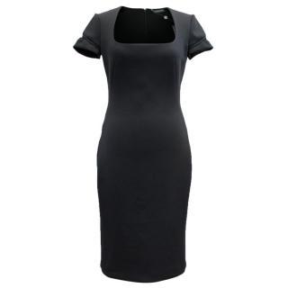 Alexander McQueen Black Square Neck Midi Dress