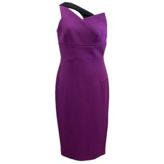Roland Mouret Purple asymmetrical dress with black strap
