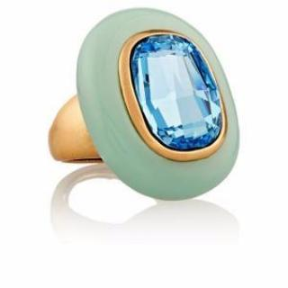 Oscar De La Renta Gold-plated, crystal and resin ring
