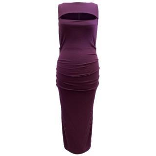 Donna Karan Purple Cool Wool Jersey Dress