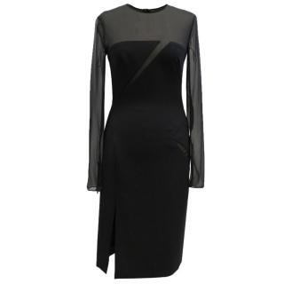 Emilio Pucci Black Long Sleeve Sheer Slit Dress
