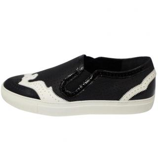 Givenchy Black and White Leather Plimsolls