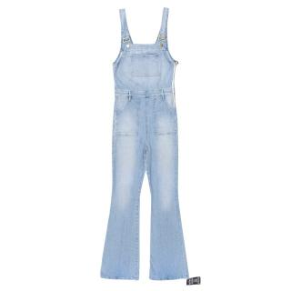 Frame Le High Flare Stretch-Denim Dungarees