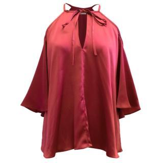 Temperley Red Luna Neck Tie Blouse