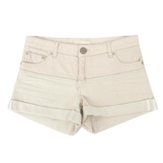 Maje White Admis Faux Leather Trim Shorts