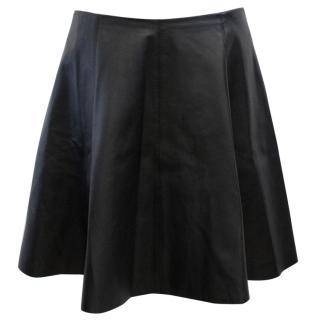 Theory Merlock Black Leather Skirt