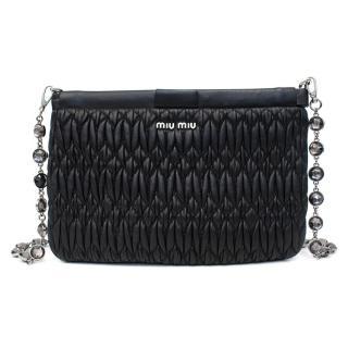 Miu Miu Matelasse Black Leather Clutch with Crystal Chain