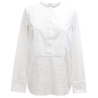 Brunello Cucinelli White Long Sleeve Cotton Blouse