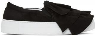 Joshua Sanders Ruches Black Suede Flatforms Boxed Brand New UK4 EU37