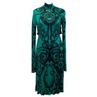 Versace Collection Turquoise Print Midi Dress