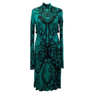 Versace Collection Turquoise Print Midi Dress