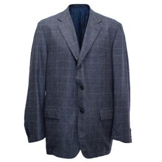 Kiton for Jean Jacques Men's Blue and Black Checked Jacket
