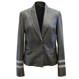 Brunello Cucinelli Grey Leather Blazer