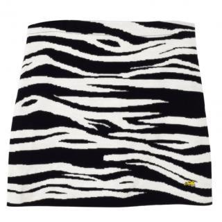 Bella Freud Zebra Stripe wool Mini Skirt