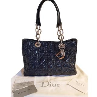 Dior midnight blue patent leather bag