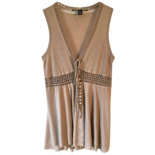 ROBERT RODRIGUEZ taupe modal and crochet sleeveless top