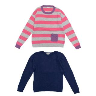 Bonpoint Blue Cashmere Jumper & Il Gufo Stripe Jumper Set