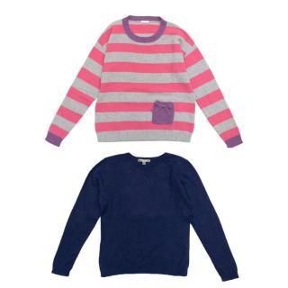 Bonpoint Blue Cashmere Jumper & Il Gufo Stripe Jumper Set