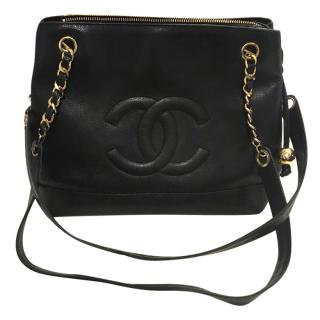 Chanel bag in black leather with ghw.