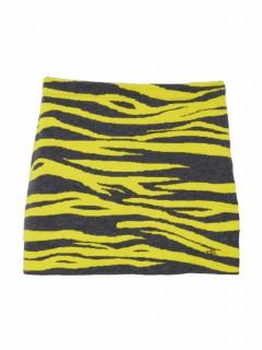 Bella Freud zebra stripe yellow wool mini skirt