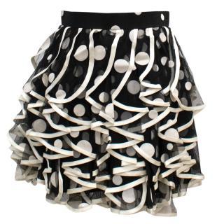 David Fielden Black and White Polka Dot Ruffle Skirt