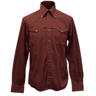 Dolce & Gabbana Burgundy Western Shirt