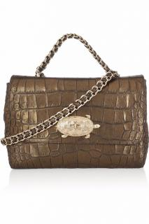 Mulberry Lily & Chain Turtle Lock Espresso Sparkle Shoulder Bag