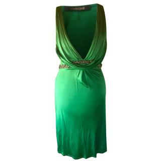Roberto Cavalli green dress swarovski crystal stud belt xs 40