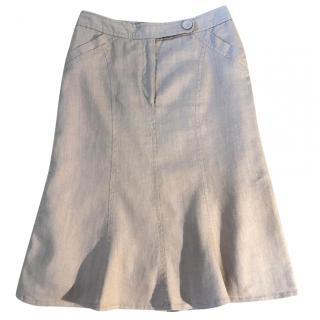 GERARD DAREL 100% linen tan coloured knee length skirt