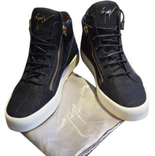 Giuseppe Zanotti mens crocodile embossed high-top sneakers