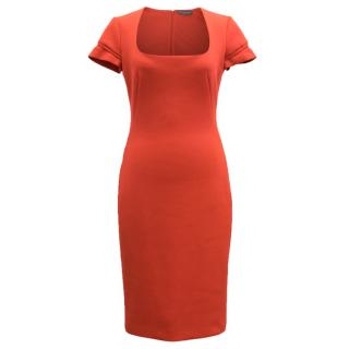 Alexander McQueen Cherry Red Fitted Dress
