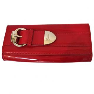 Gucci Red Patent Leather Buckle Clutch Bag