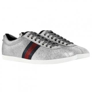 Gucci Silver Glitter Low Top Trainers