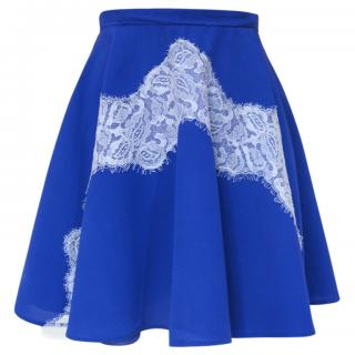 carven mini skater skirt with lace detail