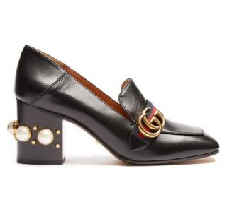 Gucci Marmont Peyton Leather mid-heel Pearl Loafer