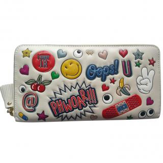 Anya Hindmarch circus stickers large zip-around wallet in chalk
