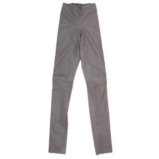 Joseph Grey Leather Stretch Leggings