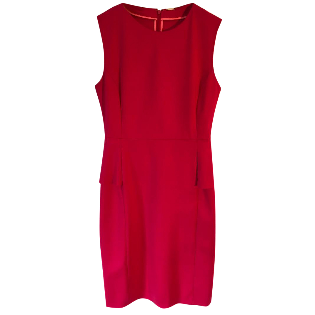 bba58cbf189 Elie Tahari Judy Red Sleeveless Sheath Peplum Dress