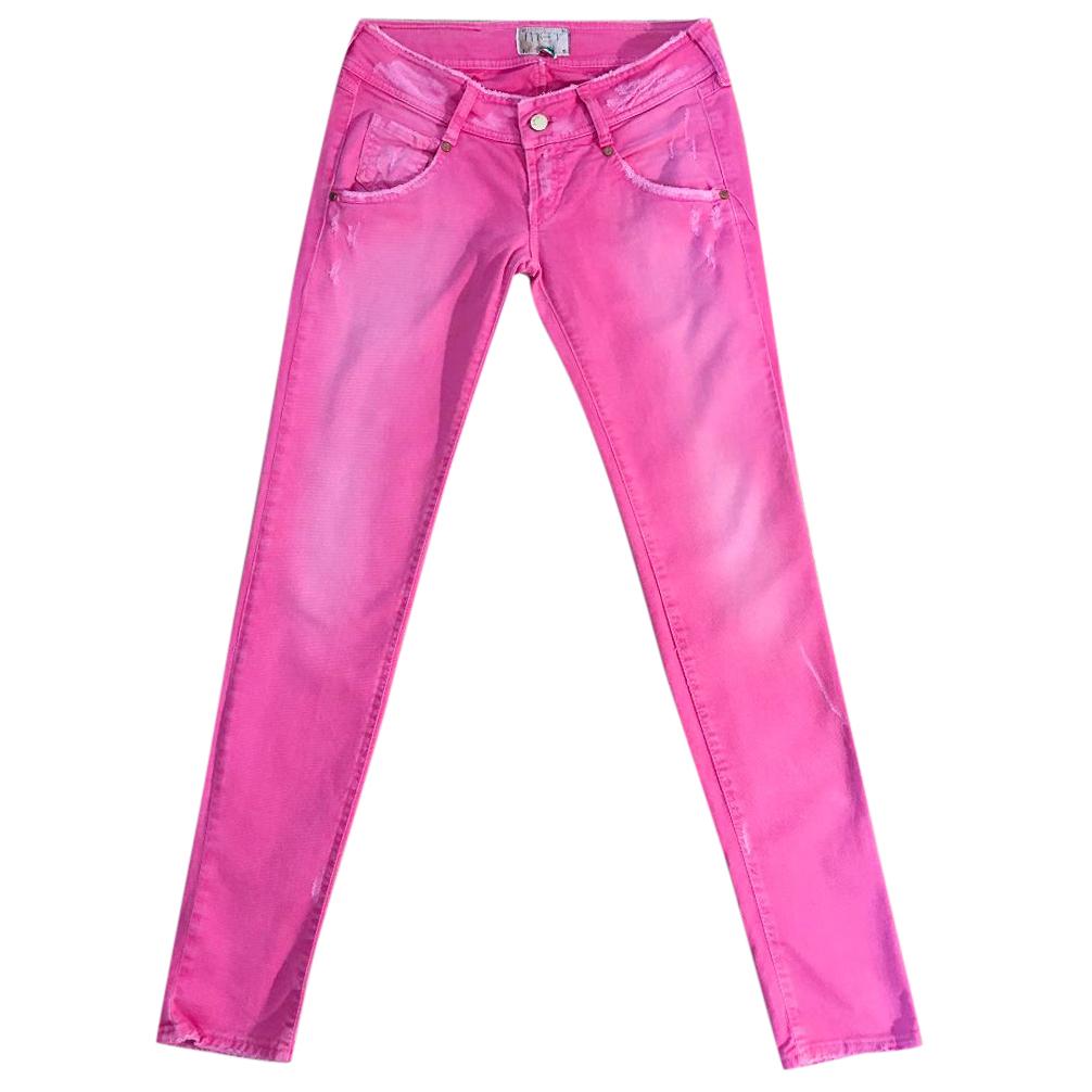 MET pink cotton & elastane distressed skinny stretch jeans
