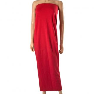 Acne Red Strapless Maxi Dress