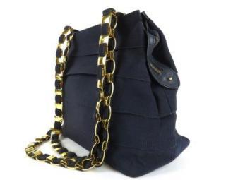 Ferragamo logo chain shoulder zippered bag leather ribbon
