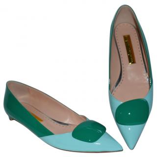 Rupert Sanderson Turquoise/Green leather shoes with Green Pebble