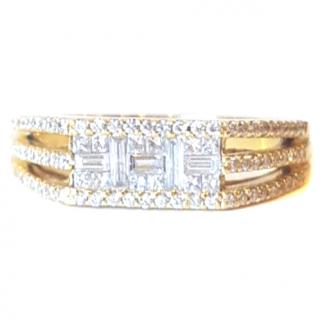 Baguette & Round Diamond Cluster ring 18ctGold