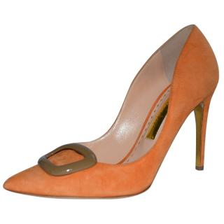 Rupert Sanderson Orange Suede High Heel Pumps with Brown Pebble