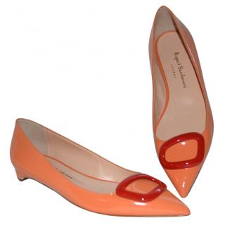Rupert Sanderson Orange leather flat shoes/ballerinas with red Pebble