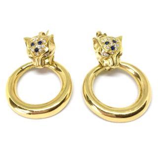 18ct Gold Leopard Diamond & Sapphire Door Knocker Style Earrings
