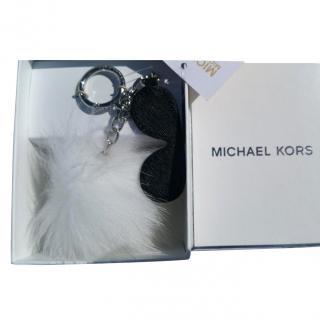 Michael Kors fuzzy shades pom pom leather sunglasses bag charm keyring
