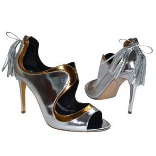 Rupert Sanderson Iridescent Silver/Gold Suede Shoes/Booties