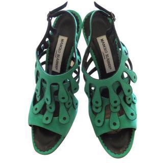 Manolo Blahnik Emerald Heeled  Sandals