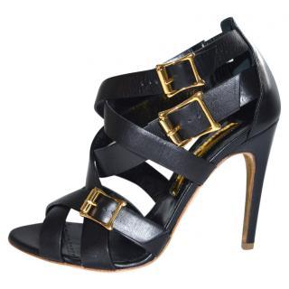 Rupert Sanderson Soraya Black Leather Strappy High Heels Sandals